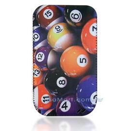 【限量促銷】APPLE/HTC/SAMSUNG/NOKIA/SONY/LG/MOTOROLA/TWM/ZTE/HUAWEI 通用型3.5吋手機-高級彩繪絨布圖案拉取式保護套--撞球