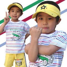 ~買窩 兒童 ~MIT 韓國 款車車系列酷炫一夏彩色條紋棉T 春夏上衣 短袖T恤 棉質上衣