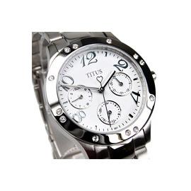 TITUS鐵達時 §尋找完美小姐‧獨特魅力 § 錶框亮鑽搭配出獨特的協調感 三眼多功能腕錶-女錶 手錶(白色) 06-2069-001