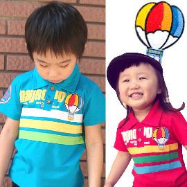 ~買窩 兒童 ~韓國 款熱氣球彩條POLO衫 短袖襯衫 春夏短袖上衣^(男女適穿^)~