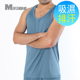 ~MEN`S non~no儂儂~吸濕排汗挖背背心~寶藍~可外穿 超涼感 排汗超強 透氣 機
