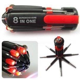 八合一螺絲起子組+手電筒 7種螺絲刀及6燈LED一體化設計工具刀組◇/帶燈 螺絲起子/螺絲工具組