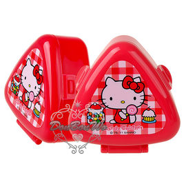 通販部-HELLO KITTY蘇格蘭格紋紅色御飯糰模具飯團收納盒318447