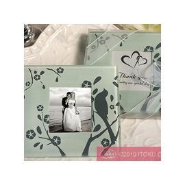 【花現幸福】☆愛情鳥玻璃相框杯墊2入50元☆婚禮小物 送客禮 姐妹禮 生日禮 情人禮
