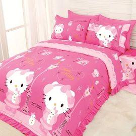 通販部-HELLO KITTY粉色街燈雪人雙人床包被單枕頭套組7136