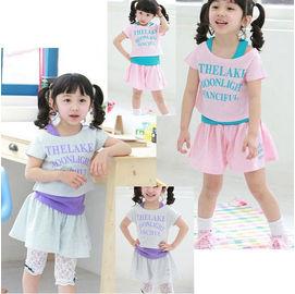 【HH婦幼館】精采穿搭~韓版女童俏麗三件式短裙套裝(灰色/粉色)