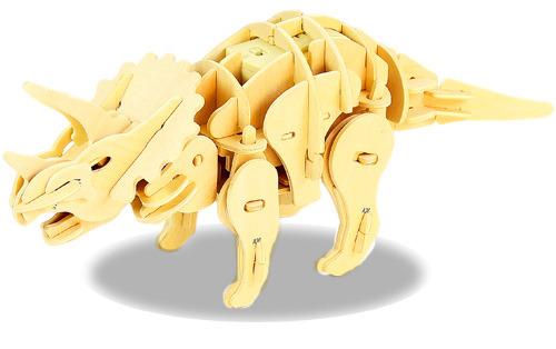 力新世界商城 史前公园 三角龙系列DIY木质拼装声控恐龙 82PCS图片