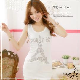 ~StyleBerry~ N462~8 巴黎鐵塔背心洋裝~ 白