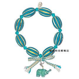 【Tarina Tarantino】時尚大象復古風珠藍綠色雕刻手環