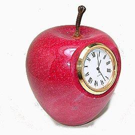 紅色大理石蘋果文鎮迷你鐘