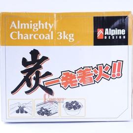2583-8723 ALPINE 發著火炭3kg 好用木炭一點就靈 烤肉營火必備