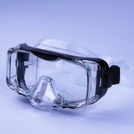 UL2110海龍王三面矽膠蛙鏡 側邊強化玻璃 可排水 短三角鼻 黑色  製