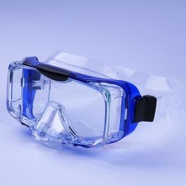 UL2110海龍王三面矽膠蛙鏡 側邊強化玻璃 可排水 短三角鼻 藍色  製