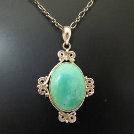 ~La luna 銀飾豐華~古典如意紋綠松石純銀墜子