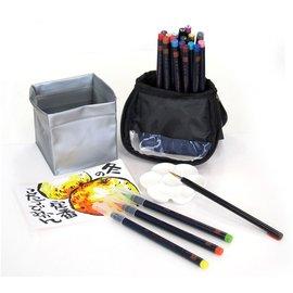 AKASHIYA SAI 彩繪毛筆 戶外寫生組 灰藍  20色附水彩筆.描邊筆.水袋及調色