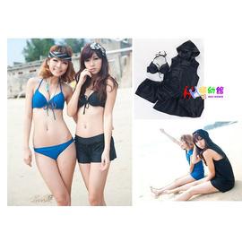 【HH婦幼館】韓版黑色/藍色比基尼四件式泳裝. 連帽罩衫+鋼圈上衣+三角褲+平口泳褲