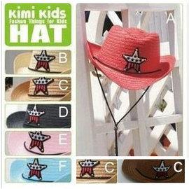 兒童夏季草帽遮陽帽五角星牛仔帽警長帽有鋼絲 大帽沿可挑色【HH婦幼館】