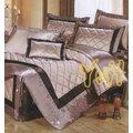 YvH PraWear 巴麗維亞 V~818 香檳棕 絲緞立體車花 刺繡 裙襬.七件式床罩