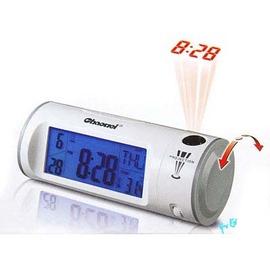 聲控投影電子鐘 大螢幕92x43mm冷光顯示日期 時間 鬧鈴 溫度 貪睡鬧鐘功能電子鬧鐘 夜間LCD投影時鐘可調整大小焦距/聲控投影鐘 感應投影鐘