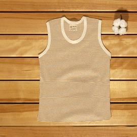 ☉藍天畫布☉100%有機棉  天然彩棉 幼兒背心,褐條80~110cm,涼爽舒適