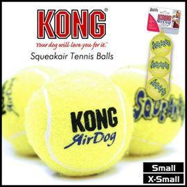 ~GOLD~美國KONG~啾啾叫超好玩AST5~寵物啾啾叫小顆黃網球玩具~三顆一組 XS號