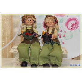 ~築巢傢飾~❦中布腿尖帽豐收娃娃擺飾 對