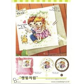 S3117 妳看看好可愛的小貓咪啊^(兩小無猜系列1^) 十字繡材料包. 藝材料.DIY刺