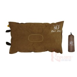 DJ7609 麂皮自動充氣枕頭(高度厚8公分)(附收納袋)