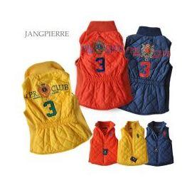 一極棒~韓國原單Jan^~pie^~re~黃、橘紅色菱格壓紋立體繡花翻領拉鍊式背心^(80