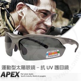 【APEX】運動型太陽眼鏡-護目鏡.防滑.抗UV.軟質高鼻墊.登山 滑雪# J91-鐵灰