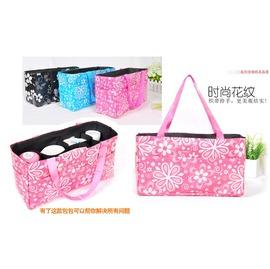韓版手提彩色花朵時尚多功能萬用收納袋媽媽14格整理袋/包中包袋中袋【HH婦幼館】