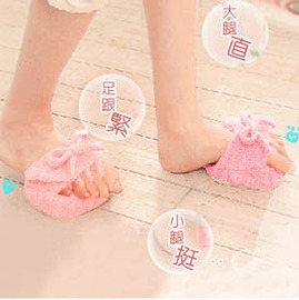 粉紅棉花糖五指美腿鞋*(半腳款)/保濕、去角質健康美腳防滑拖鞋~空姐名模美腿密秘武器