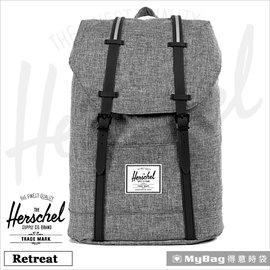 Herschel 後背包 Retreat~919 灰色 束口袋 、掀蓋雙皮扣   MyBa