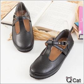 Q Cat日系時尚小舖 【KM11-B1-4】側皮帶釦環軟Q柏肯休閒包鞋-3色(現貨)