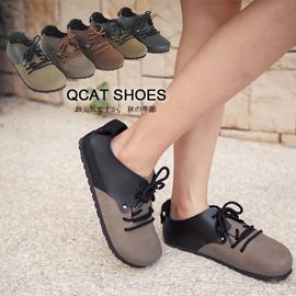Q Cat日系時尚小舖【KM110-A1-8】獨家訂製 經典款雙皮料拼接綁帶柏肯包鞋-5色2(現貨)