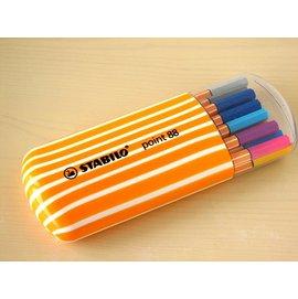 STABILO鵝牌 point 88 款式細字彩色簽字筆^(0.4mm^)20色橢圓筒裝8