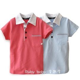 ~Ruby baby童趣屋~日單素雅翻領男童帥氣短袖上衣^(100 110 120 130