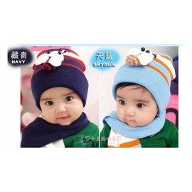 十月媽咪屋~~C1680011~韓國09年冬天新上市水藍色 深藍色蜜蜂帽子 圍巾二件組