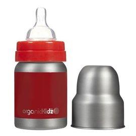 【紫貝殼】『KD01』 加拿大 organicKidz 不鏽鋼保溫奶瓶Organickidz /【寬口徑】4oz 120ml (紅)
