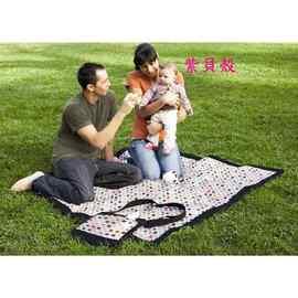 【紫貝殼】『HA02』 SKIP HOP 背包、野餐墊、坐墊三合一外出攜帶防水 野餐墊/戶外遊戲墊/防水墊【前側有絕緣冰袋可放飲料】