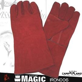 RV-IRON006防燙皮手套14吋 (紅色)荷蘭鍋專用防燙牛皮手套 鑄鐵鍋 平底鍋