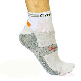 Green Lab銀鍺coolmax自行車襪-灰/米白  GL0101W 健康除臭襪   銀纖維