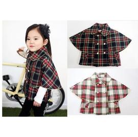 韓版女童典雅格子鋪棉披風外套(紅+藍/紅+白)【HH婦幼館】