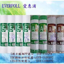 【淨水工廠】《免運費》《8支裝》《送餘氯測試液》EVERPOLL愛惠浦公司貨標準型10英吋一年份濾心 EVB-F105 / EVB-U100A / EVB-C100A