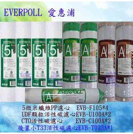 【淨水工廠】《免運費》《9支裝》《送餘氯測試液》EVERPOLL愛惠浦公司貨一年份濾心EVB-F105*4/EVB-U100A*2/EVB-C100A*2/EVB-T033A*1