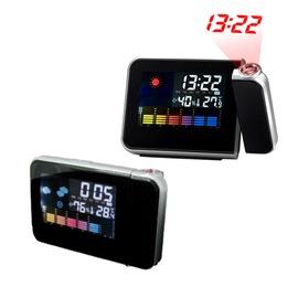 電子鐘 投影時鐘 鬧鐘 冷光大螢幕顯示日歷 時間 溫濕度 鏡面顯示板812黑