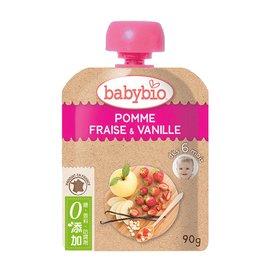 【安琪兒】法國【倍優babybio】有 機蘋果草莓纖果泥90g(6個月)