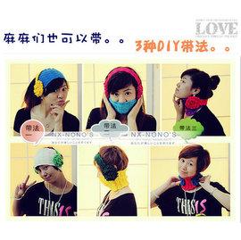 【HH婦幼館】韓版撞色親子耳機髮帶/圍脖/毛線套頭帽 大人也可戴