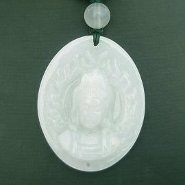 ~歡喜心珠寶~~觀音菩薩雕像玉墜~天然緬甸冰種翠玉~A貨附保証書~立体單面精雕,觀音法像年