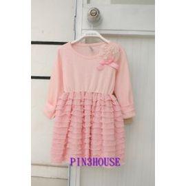 春、秋款~歐洲原單~粉色底立體珍珠花朵與立體蝴蝶結蛋糕裙小洋裝 長版上衣^(92 98CM